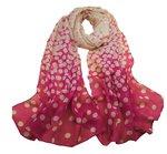 Sjaal hard roze met licht roze stippen
