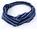 stoffen haarband blauw met witte strepen