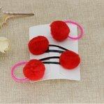 Setje haar speldjes/elastiekjes met bontballetje - Rood