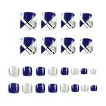 Nep teen nagels - Blauw/wit/zilver