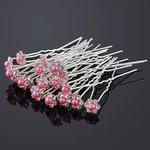 Haarpin met strassbloem en parel roze