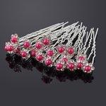 Haarpin met strassbloem en parel Hard roze