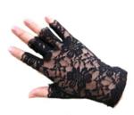Kanten stretch handschoentjes - zwart