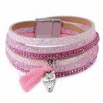 Wikkel armband strass/glitter - Roze