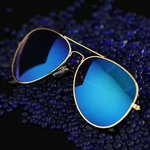 Zonnebril goud/blauw