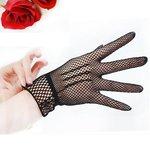 Zwarte opengewerkte stretch handschoenen kort