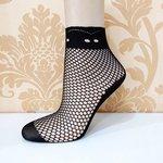 Visnet sokken met apparte rand - zwart