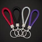 Sleutel/tas hanger gevlochten leer - zwart