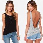 Shirtje/topje lage rug - zwart - Maat XS