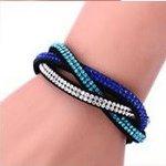 Gevlochten armband strass - Blauw