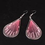 Oorbellen met zijdedraad & kralen - Roze