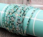 Set van 5 elastische armbanden met groene strass stenen