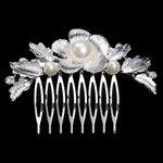 Haarkam zilveren bloem met parel