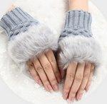 Handschoenen bont - Licht grijs