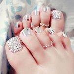 Nep teen nagels - zilver/strass