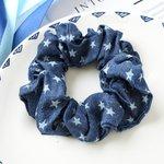 Scrunchie jeans blauw - ster
