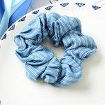 Scrunchie licht  jeans blauw - streep