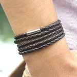 Heren wikkel armband - Bruin