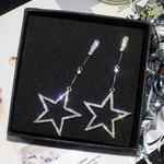 Lange oorbellen star - Zilver