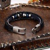 Heren armband leer zwart met metalen sluiting (bruin)_
