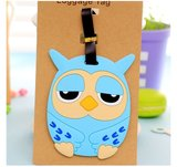 Bagage label/luggage tag uil - blauw