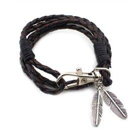 Wikkel armband met veren - Donker bruin