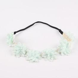 Stoffen bloemen haarband - Zacht groen