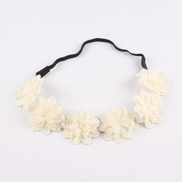 Stoffen bloemen haarband - Zacht geel/creme