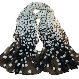 Dunne sjaal met rondjes - Zwart