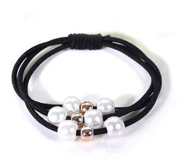 Haar elastieken met kralen set/2  - Zwart
