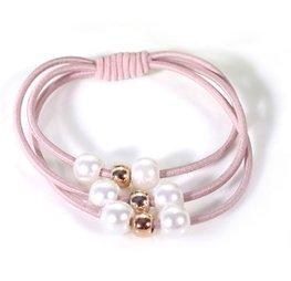 Haar elastieken met kralen set/2  - Oud roze