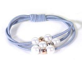 Haar elastieken met kralen set/2  - Blauw