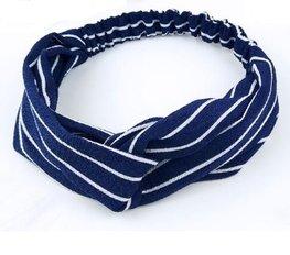 Elastische haarband streep - Blauw