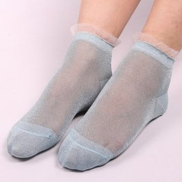 Glitter sokjes - groen/zilver