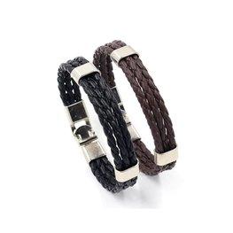 Leren heren armband - Zwart