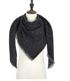 Sjaal/omslagdoek Zwart/antraciet met glitter