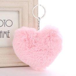 Sleutel/tas hanger pluis hart  - Licht roze/zilver