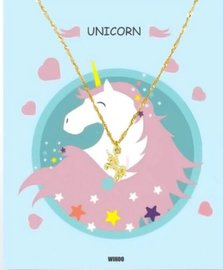 Eenhoorn/unicorn ketting met gift card - Goud