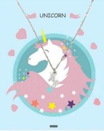 Eenhoorn/unicorn ketting met gift card - Zilver