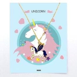 Eenhoorn/unicorn ketting met gift card - Blauw/wit