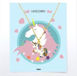 Eenhoorn/unicorn ketting met gift card - Gekleurd