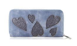 Hippe grote Portemonnee hearts - blauwgrijs