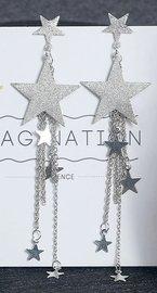 Lange oorbellen glitter ster - Zilver