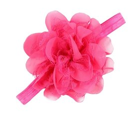 Baby/kinder haarband grote bloem - Roze