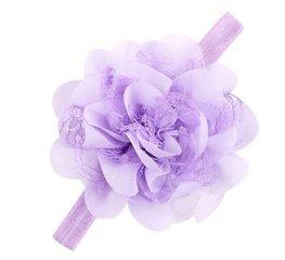 Baby/kinder haarband grote bloem - Lila