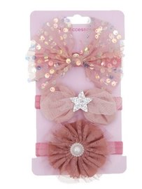 Elastische baby/kinder haarbanden  set van 3 stuks - Oud roze