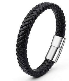 Gevlochten heren armband - Zwart