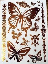 Fash tattoos goud Vlinder