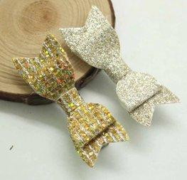 Haarclipjes glitter strik - Goud