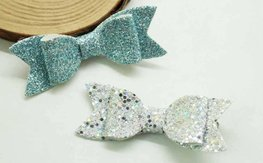 Haarclipjes glitter strik - zilver/blauw
